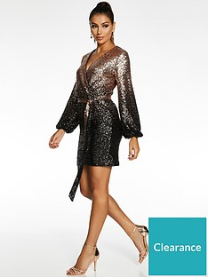 quiz-quiz-x-sam-faiers-wrap-front-sequin-balloon-sleeve-bodycon-dress-blackgold