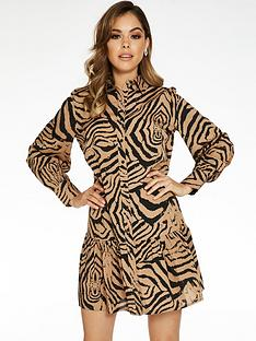 quiz-woven-tiger-print-tunic-button-through-dress-tanblack