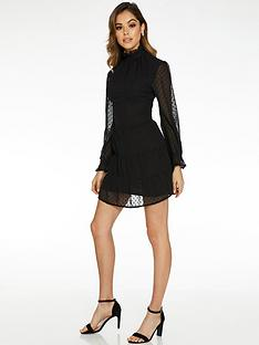 quiz-high-neck-tunic-dress-with-mesh-balloon-sleeve-black