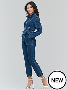 michelle-keegan-zip-front-puff-sleeve-denim-jumpsuit-indigo