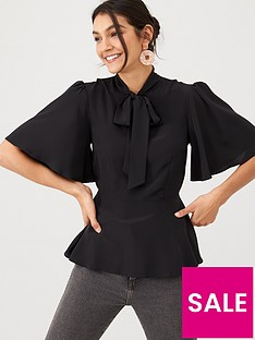 v-by-very-pussybow-peplum-blouse-black