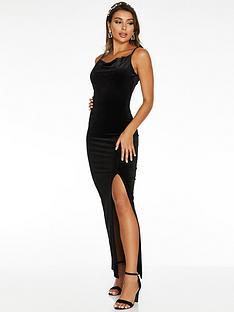 quiz-quiz-x-sam-faiers-black-velvet-cowl-neck-maxi-dress