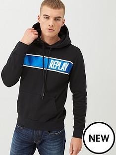 replay-foil-logo-overhead-hoodie-black