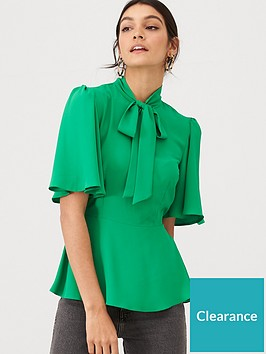 v-by-very-pussybow-peplum-blouse-green