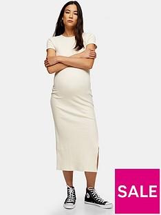 topshop-maternity-wide-belt-rib-column-dress-cream