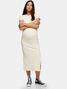 topshop-topshop-maternity-wide-belt-rib-column-dress-cream
