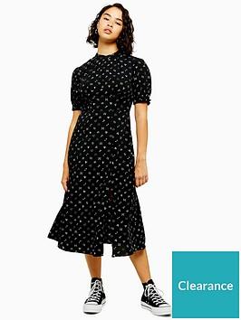 topshop-petite-conversational-midi-dress-black
