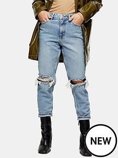 topshop-topshop-petite-double-rip-mom-jeans-black