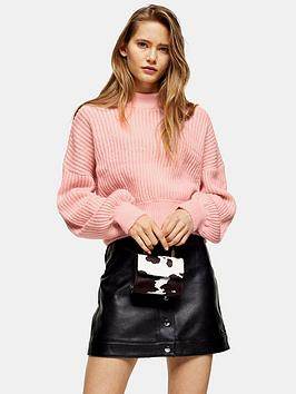 topshop-pointelle-balloon-sleeve-jumper-pink