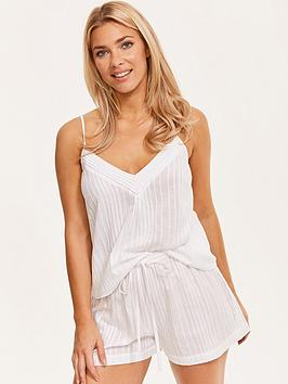 figleaves-cotton-stripe-pintuck-cami-and-short-pj-set-white