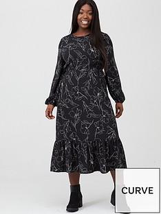 v-by-very-curve-sketch-print-midi-dress-monochrome