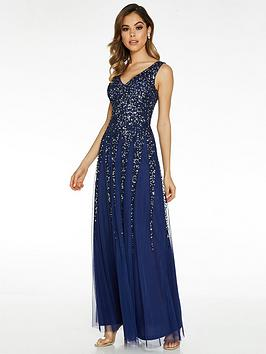 quiz-sequin-embellished-v-neck-sleeveless-maxi-dress-blue