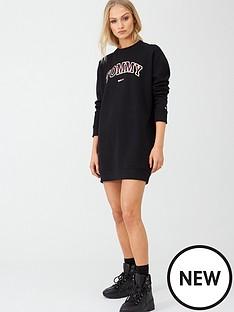 tommy-jeans-logo-sweatshirt-dress-black