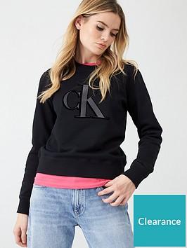 calvin-klein-jeans-flock-monogram-crew-neck-black