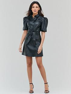 michelle-keegan-faux-leather-mini-shirt-dress-black