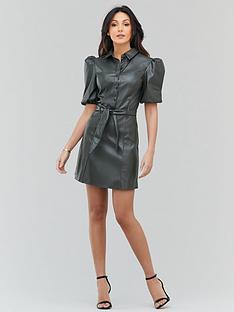 michelle-keegan-faux-leather-mini-shirt-dress-khaki