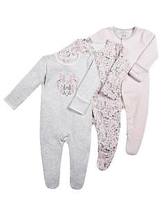 mamas-papas-baby-girls-3-pack-floral-sleepsuits-pink