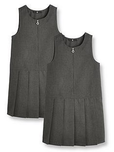 v-by-very-girls-2-pack-pleat-pinaforenbspschool-dressesnbsp--grey