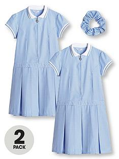 v-by-very-girls-2-pack-rib-collar-gingham-school-dress-blue