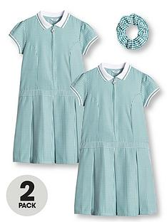 v-by-very-girls-2-pack-rib-collar-gingham-school-dress-green