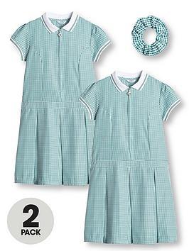 v-by-very-girls-2-pack-rib-collar-gingham-school-dress-green