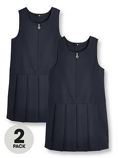 v-by-very-girls-2-pack-pleat-pinaforenbspschoolnbspdressesnbsp--navy