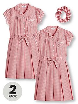 v-by-very-girls-2-pack-traditional-gingham-water-repellentnbspschool-dress-red