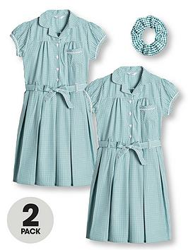 v-by-very-girls-2-pack-traditional-gingham-water-repellent-school-dress-green