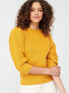 v-by-very-balloon-sleeve-jumper-mustard