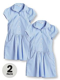 v-by-very-girls-2-pack-drop-waist-gingham-school-dress-blue