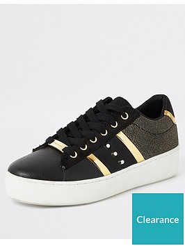 river-island-river-island-studded-gold-stripe-trainers-black