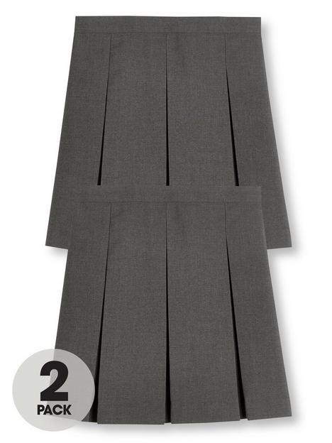 v-by-very-girls-2-pack-classic-pleated-school-skirts-grey