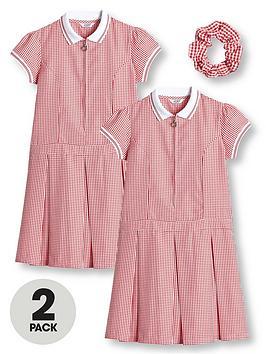 v-by-very-girls-2-pack-rib-collar-gingham-school-dress-red