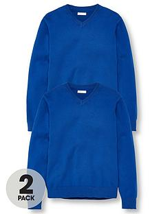 v-by-very-unisex-2-pack-v-neck-school-jumper-royal-blue