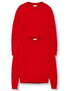 v-by-very-unisex-2-pack-v-neck-school-jumper-red