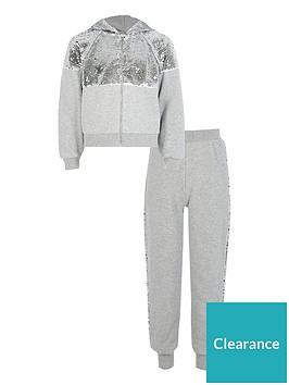 river-island-girls-sequin-zip-front-hoodie-and-jog-pant-set-grey