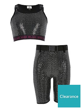 river-island-girls-sequin-buckle-top-and-cycling-short-set-black