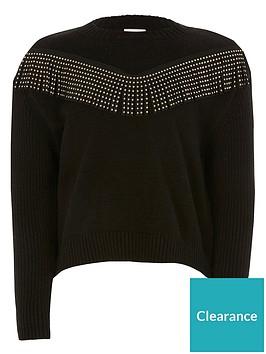 river-island-girls-diamante-tassel-knitted-jumper--nbspblack