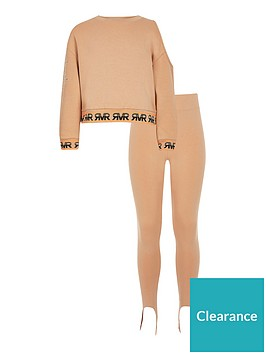 river-island-girls-one-shoulder-sweatshirt-outfit-brown