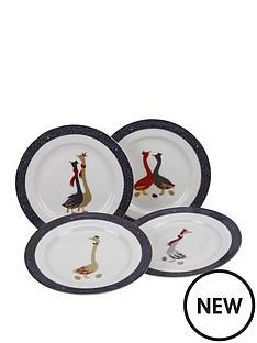 sara-miller-festive-geese-cake-plates-ndash-set-of-4