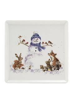 royal-worcester-wrendale-christmas-snowman-square-plate