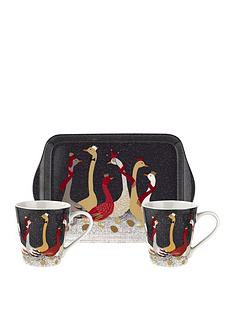 sara-miller-nbspfestive-geese-mug-and-tray-set