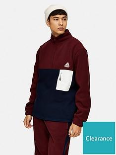 topman-polar-fleece-14-zip-sweatshirt-burgundynavy