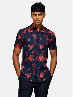 topman-floral-print-short-sleeve-shirt-navy