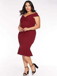 quiz-curve-quiz-curve-berry-bardot-knot-front-midi-dress