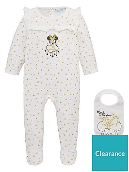 minnie-mouse-stars-baby-sleepsuit-and-bib-set-off-white