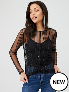 v-by-very-knotted-sequin-jersey-crop-top-black