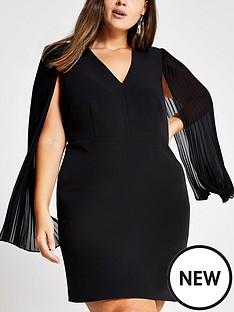 ri-plus-pleated-sleeve-mini-dress-black