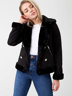 river-island-river-island-faux-fur-crested-button-aviator-jacket-black