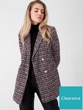 river-island-river-island-boucle-double-breasted-longline-blazer-red